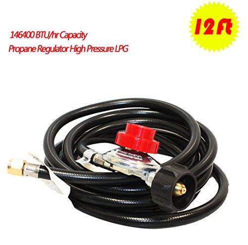 12' Square Wok (12 Feet Propane Regulator High Pressure LPG bbq Gas burner wok fryer Hose 20psi)