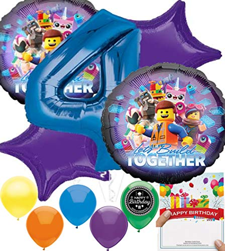 LEGO Movie 2 Party Supplies Balloon Decoration Bundle for (4th Birthday)