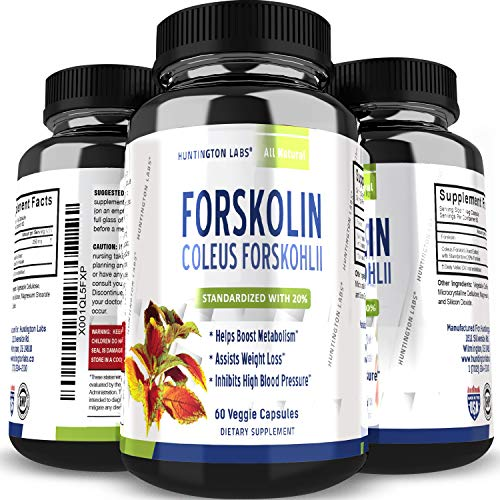 Huntington Labs Pure Forskolin Extract Diet Pills Natural Fat Burner Best Weight Loss Appetite Suppressant that Works 250 mg Coleus Forskohlii Root Lose Weight Fast 60 Capsules (5 Foods That Kill Belly Fat Fast)