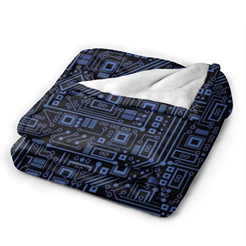 """Comfy Soft Circuit Board Throw Blanket, Sherpa Flannel Fleece Home Blanket Wearable Blanket, Queen Size Blankets for Bedroom Living Rooms Sofa Couch, 40""""x50"""""""