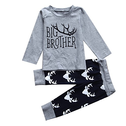 3PCS Newborn Baby Boys Cute Little Brother Romper+Pants+Hat Outfits Matching Set (4-5 Years, Big Brother)