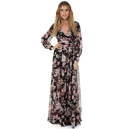 Womens Boho Maxi Dresses Chiffon Split Floral Print Long Sleeve Beach Dresses with Adjustable Wrap Deep V Neck (XXXL, Black - Phoebe In Dress Black