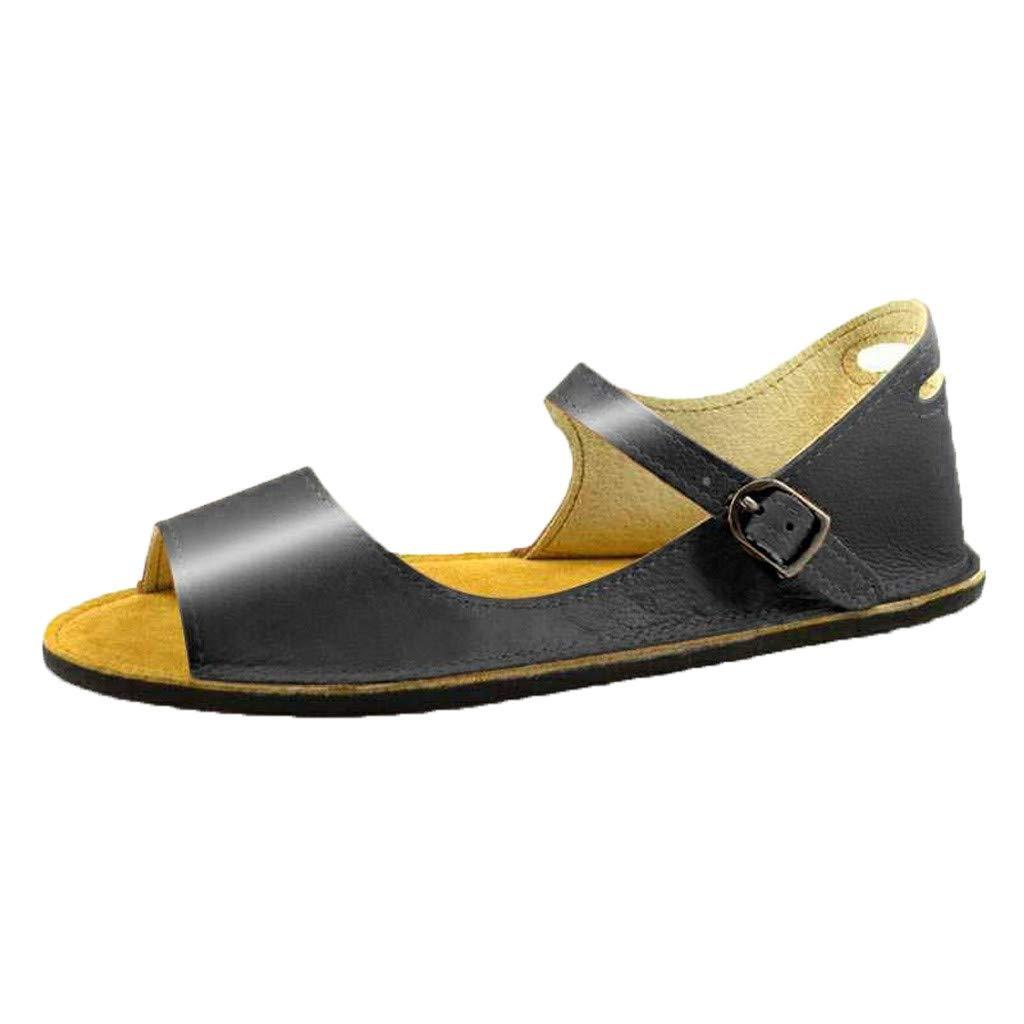 Sandals for Women THENLIAN Summer Sandals Retro Buckle-Strap Sandals Student Flats Open-Toe Shoes(43, Black)