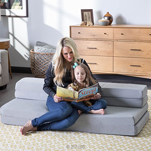 LUCID 4 Inch Folding Mattress and Sofa with Removable Indoor / Outdoor Fabric Cover - Queen Size by LUCID (Image #4)