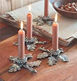 Mud Pie (3) Acorn Leaf Taper Candle Holder Set