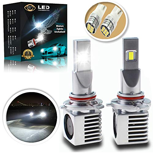 Eagle Eyes Extreme 9005 LED Headlight Bulbs Conversion Kit - Bonus 2 Accent Led Bulb - New Upgrade - 3X Brighter - Super White High & Low Beam, Fog Light - Non Blinding - Plug & Play - Extended Life - Kit Light Beam