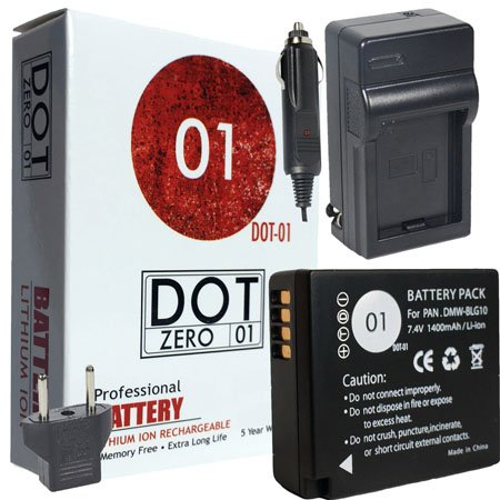 DOT-01 Brand Panasonic Lumix DC-ZS200 Battery and Charger for Panasonic Lumix DC-ZS200 Mirrorless and Panasonic ZS200 Battery and Charger Bundle for Panasonic BLG10 DMW-BLG10 by DOT-01