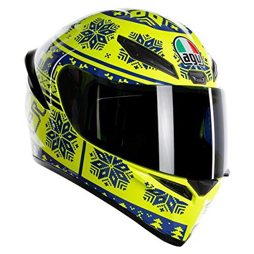 AGV Unisex-Adult Full Face K-1 Winter Test 2015 Motorcycle Helmet Yellow/Blue Medium/Large ()