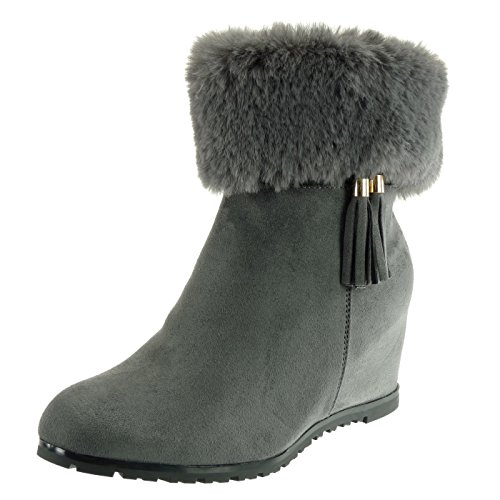 Angkorly Women's Fashion Shoes Ankle Boots - Booty - Cavalier - Fancy/Chic - Fur - Pom Pom - Fringe Wedge 6.5 cm Grey fZKd1hT