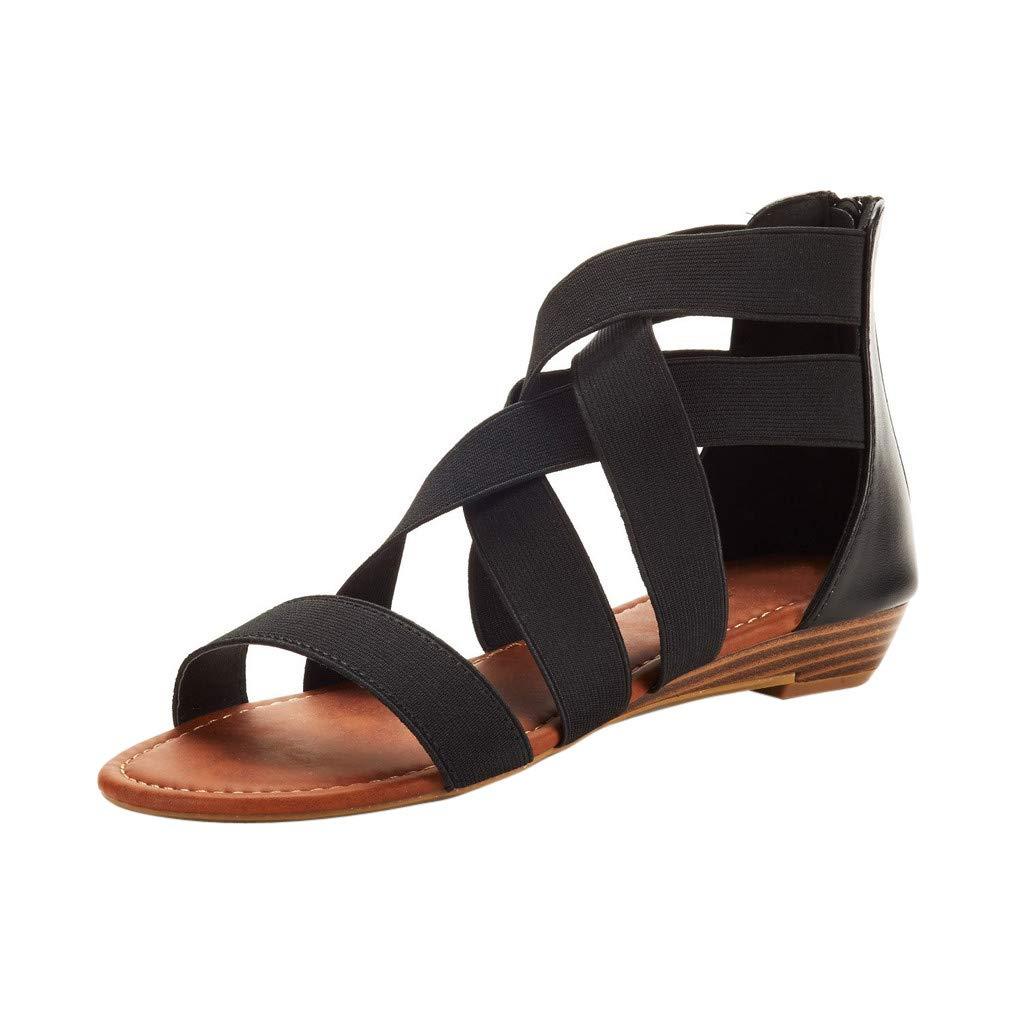 XLnuln Womens Summer Cross Elastic Strap Ankle Wedges Roman Sandals Casual Flip-Flop Flat Sandals Beach Shoes
