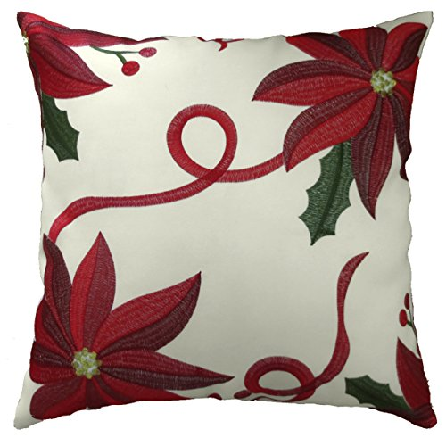 Violet Linen Decorative Christmas Poinsettias Design Cushion Cover, 18