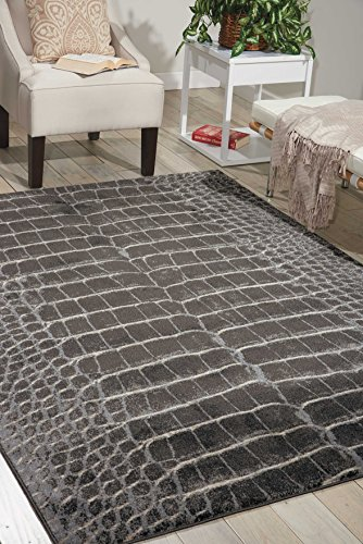 Nourison Maxell MAE09 Animal Print Modern Contemporary Charcoal Polyester Area Rug 5 Feet 3 Inches by 7 Feet 3 Inches, 5'3'' x 7'3'' by Nourison