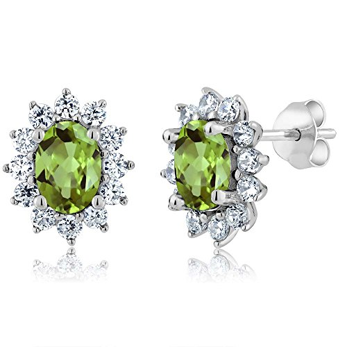 Gem Stone King 3.00 Ct 7X5MM Oval Green Peridot 925 Sterling Silver Stud Women s Earrings