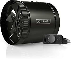 "AC Infinity RAXIAL S8, Duct Booster Fan 8"" with Speed Controller - Low Noise Inline HVAC Blower Can Fan for Basements, Bathrooms, Kitchens, Workshops"
