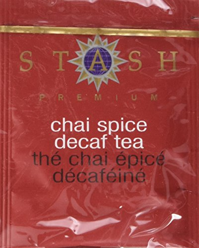 Stash Tea Decaf Chai Spice Black Tea, 100 Count Box of Tea Bags Individually Wrapped in Foil, Decaffienated Black Tea Blended with Invigorating, Warming Spice. Drink Hot or Iced