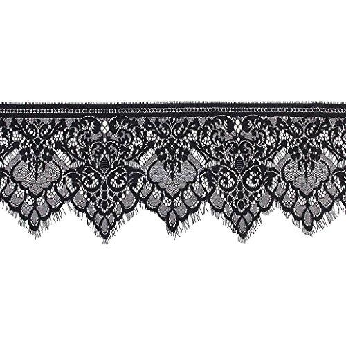 Scalloped Black Trim (3 Yards Black Floral Lace Trim Single Scalloped Edge 19cm Good Crafted DIY Ideas)