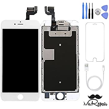 iphone 6s lcd Screen Replacement Repair Kit w/ Tools LCD Touch Screen Display Assembly and Replacement | Replace Cracked, Broken, Dead Pixels (White)