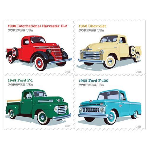 New Pickup Trucks Booklet of 20 Stamps Set Rare For collecting 1938 International Harvester D-2, the 1948 Ford F-1, the 1953 Chevrolet, and the 1965 Ford F-100