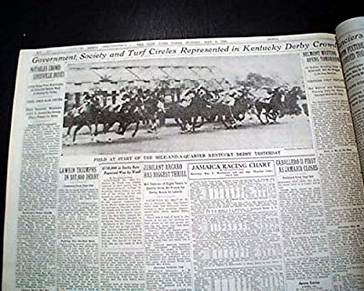 LAWRIN American Thoroughbred Racehorse Wins KENTUCKY DERBY 1938 Old Newspaper NEW YORK TIMES, sport's section only, May 8, 1938