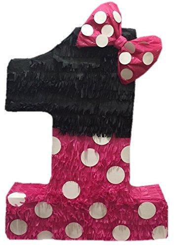APINATA4U Large Hot Pink & Black Number One Pinata 23