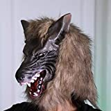 Tuscom Wolf Mask Animal Masquerade Halloween Costume Cosplay Party mask Cosplay Costume Party(2style 28 x 26cm) (Brown)
