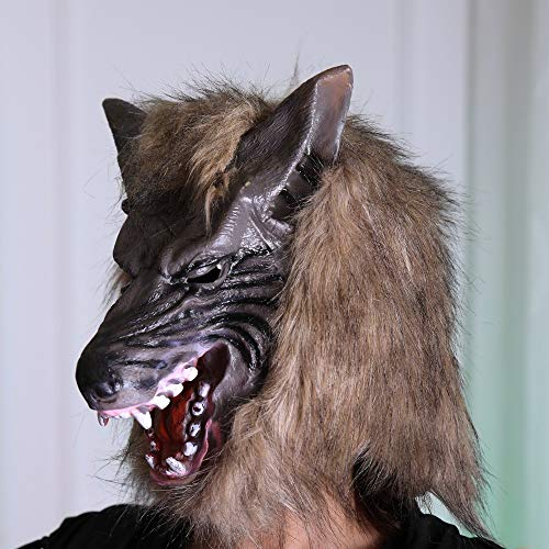 Tuscom Wolf Mask Animal Masquerade Halloween Costume Cosplay Party mask Cosplay Costume Party(2style 28 x 26cm) (Brown)]()