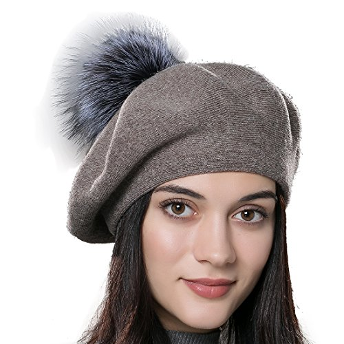 URSFUR Unisex Winter Hat Womens Knit Wool Beret Cap with Fur Ball Pom Pom