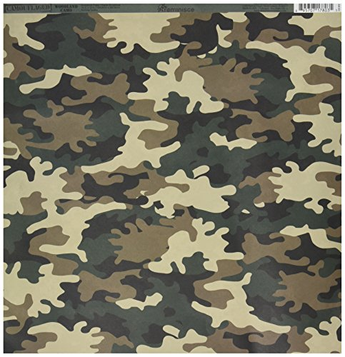 Reminisce Camouflaged 12 by 12-Inch Double Sided Scrapbook Paper, Woodland Camo - Camo Scrapbook Paper