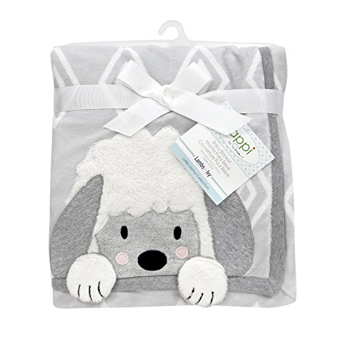 Little Lamb Blanket (Lambs & Ivy Happi By Dena Little Llama Sheep Blanket, Grey/White)