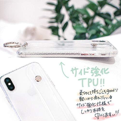 リング付き シンプル スタンド機能 【iPhone SE (新型) クリアケース ベルト付き クリア】ラメ キラキラ tpu ケース カバー おしゃれ 韓国 スマホケース カワイイ 透明 可愛い 大人可愛い iPhone7 iPhone8 iPhoneX iPhoneXs iPhonese iPhoneXR iPhone11 se2
