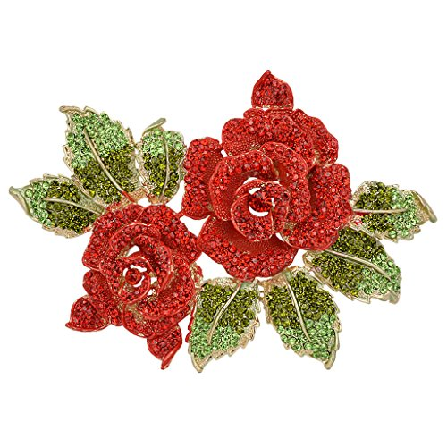 (EVER FAITH 6 Inch Rose Flower Red Austrian Crystal Brooch)