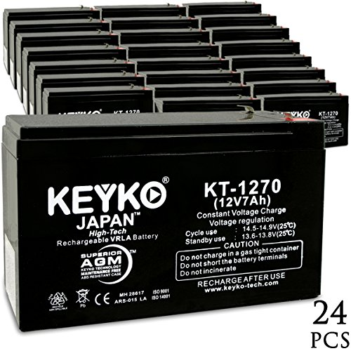 APC RBC105 SMART-UPS SU5000RST-TF3 UPS 12V 7Ah SLA Sealed Lead Acid AGM Rechargeable Replacement Battery Genuine KEYKO (F1 Terminal W/F2 Adapter) - 24 Pack by KEYKO
