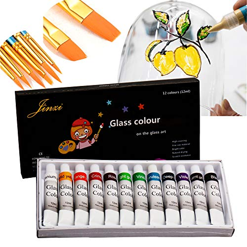 (Jinzi Stain Glass Paint, Non-Toxic Window Paint, Permanent Glass Paint Kit, Lacquer Based for Superior Stained Glass Art Paint, Glass Painting with 10Pieces Round Pointed Tip Nylon Hair Brush)
