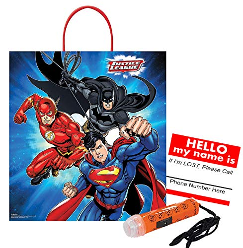 (Justice League - Batman, Superman & The Flash! Medium Sized Halloween Trick Treat Candy Loot Bag!! Plus Safety First Sticker & Mini Halloween Flashlight)