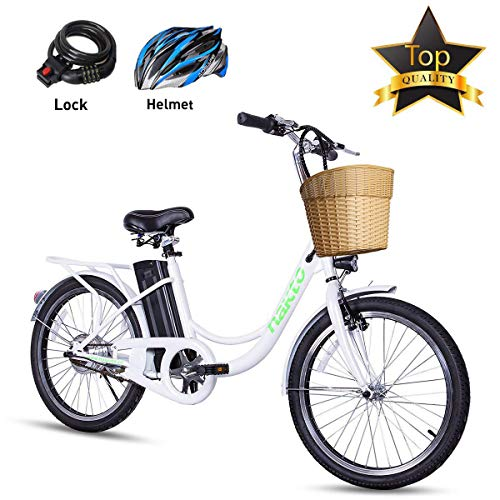 BRIGHT GG NAKTO 22'' Electric Bicycle Commuter Ebike City Electric Bike with 250W Rear Hub Motor 36V 10A Lithium Battery,Lock and Glove