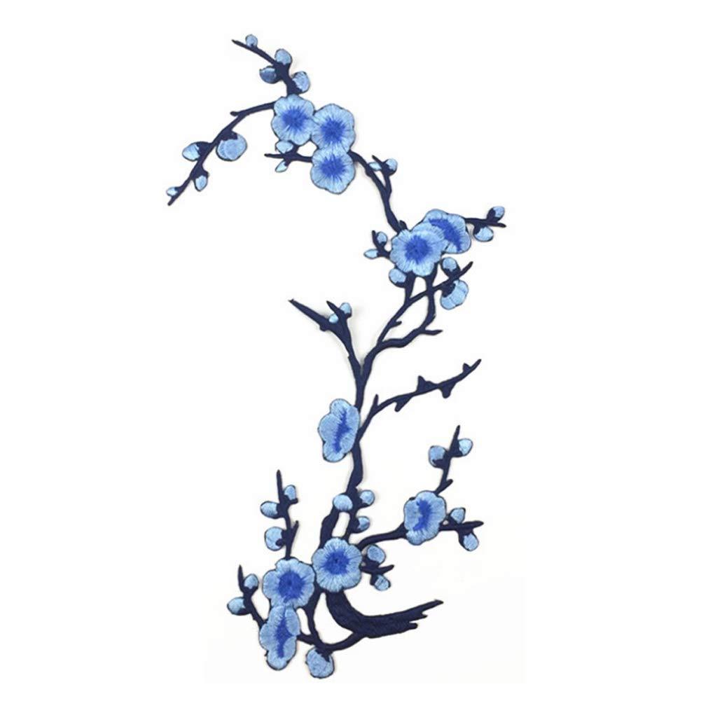Deanyi Plum Blossom Fiore ricamo Appliques Iron-On Patch ricamati accessorio DIY per Abbigliamento Abiti Light Blue Cancelleria e prodotti per ufficio