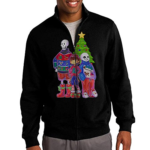 HEHE Men's Zip-up Jacket Hooded Hooded Undertale Sans Christmas Size S Black