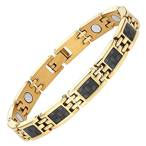 - Willis Judd Womens Titanium Magnetic Bracelet with Gold Tone Carbon Fiber Size Adjusting Tool and Gift Box Included