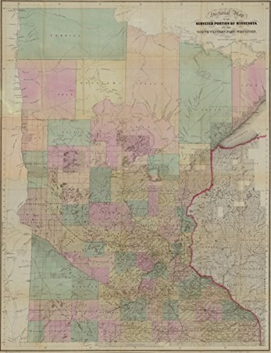 Map: 1860 Sectional of the surveyed portion of Minnesota and north western part of Wisconsin Entered according to Act of Congress in the year 1857, by J.S. Sewall ..|Minnesota