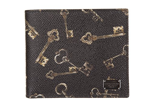Dolce&Gabbana men's genuine leather wallet credit card bifold keys print - Wallet Dolce Gabbana Mens