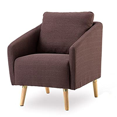 BONZY Accent Chair Mid-Century Style for Living Room Durable Frame - Light Brown -  - living-room-furniture, living-room, accent-chairs - 515%2BjzepIRL. SS400  -