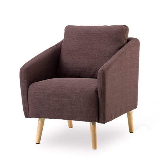 BONZY Accent Chair Mid-Century Style for Living Room Durable Frame - Light Brown -  - living-room-furniture, living-room, accent-chairs - 515%2BjzepIRL. SS570  -