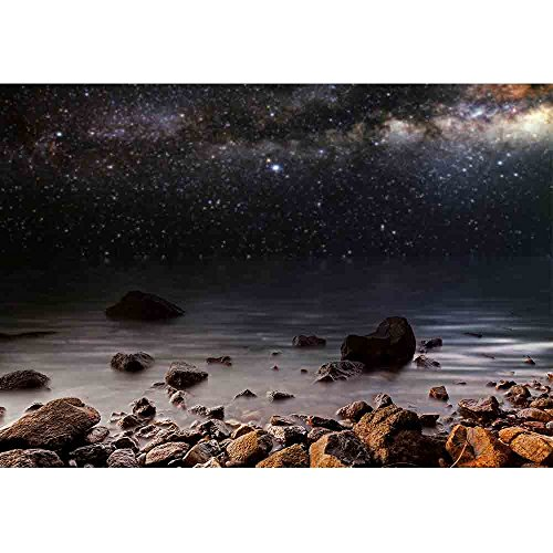 wall26 - Month on a Background Star Sky Reflected in The Sea - Removable Wall Mural | Self-Adhesive Large Wallpaper - 100x144 inches