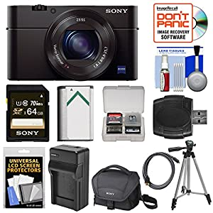 Sony Cyber-Shot DSC-RX100 III Wi-Fi Digital Camera with 64GB Card + Battery & Charger + Case + Tripod + Kit