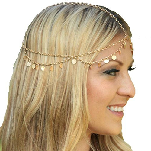 [Usstore 1PC Women lady Headwear Chain Jewelry Chain Headband Head shiny Piece Hair Band Tassels] (70s Costumes Men)