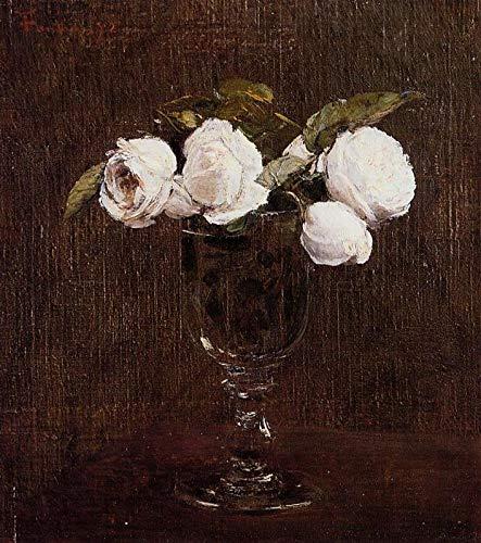 手描き-キャンバスの油絵 - Vase of Roses Henri Fantin Latour 芸術 作品 洋画 ウォールアートデコレーション -サイズ11 B07HLT97D6  36 x 48 インチ