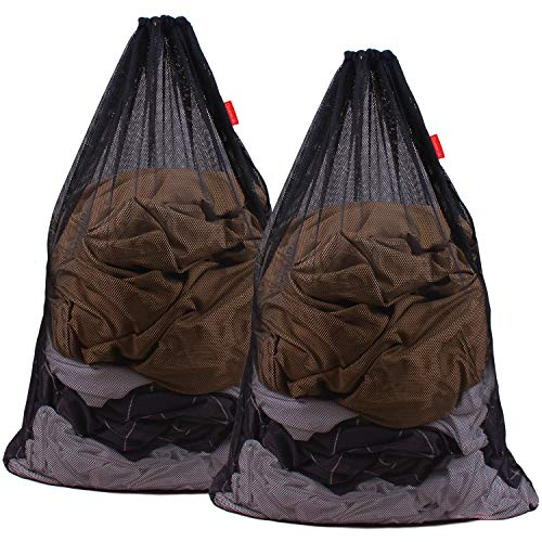 DuomiW Mesh Laundry Bag Heavy Duty Drawstring Bag, Factories, College, Dorm, Travel and Apartment Dwellers, 24 x 36 Inches, 2 Pack, Black in USA