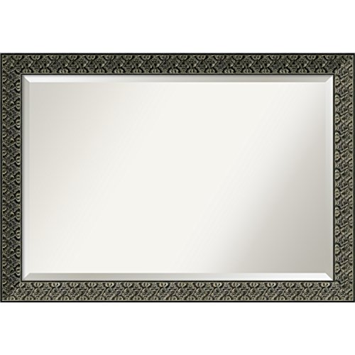 Amanti Art Wall Mirror Intaglio Embossed Black: Outer Size 40 x 28