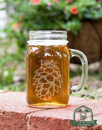 Pinecone Mason Handled Jar Beer Mug Gift (Glassware Etched With Pine Cones compare prices)