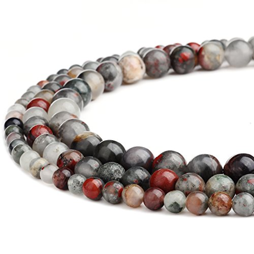 Fancy Jasper Necklace - RUBYCA Wholesale Natural Fancy Jasper Gemstone Round Loose Beads for Jewelry Making 1 Strand - 6mm